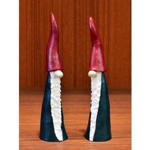 スウェーデン 置物 双子のほっそりサンタクロース 2個セット|motomachi-takenaka