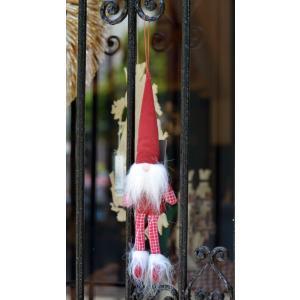 スウェーデン 三角帽子のお洒落な妖精 人形 置物 オーナメント チェック柄 赤 motomachi-takenaka