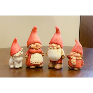スウェーデン 置物 赤い帽子の幸せ家族 4個セット|motomachi-takenaka