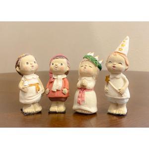 スウェーデン 置物 キャロルを歌う子供たち Lucia Children 4個セット|motomachi-takenaka