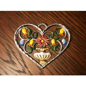ドイツ錫(すず)飾り オーナメント 壁飾り ハート 花 フラワー|motomachi-takenaka