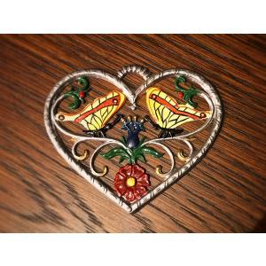 ドイツ錫(すず)飾り オーナメント 壁飾り ハート 蝶 チョウ|motomachi-takenaka