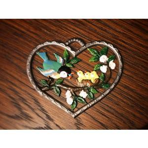 ドイツ錫(すず)飾り オーナメント 壁飾り ハート 小鳥の親子|motomachi-takenaka
