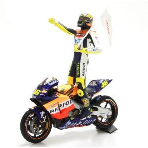 ミニチャンプス(MINICHAMPS)ホンダ RC211V チームレプソルホンダ V.ロッシ 2002モトGP初優勝 フィギュア付 1/12スケールミニチュアバイク motormagazine
