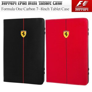 iPad mini&7-8インチタブレット対応ケース フェラーリ Formula One カーボン調タブレットケース(タブレットケース 携帯ケース カバー タブレット ケース)|motormagazine