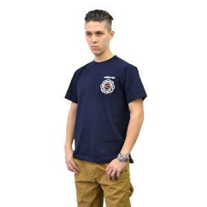 (まとめ買いで送料無料)プリントロゴT モリタ×レスキュースクワッド Tシャツ type7 ネイビー(メンズ tシャツ ロゴtシャツ ブランド 半袖)|motormagazine