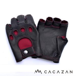 ドライビンググローブ カカザン(CACAZAN)DDR-040 ブラック×レッドステッチ(メンズ グローブ ブランド 革 車用 半指)(送料無料)|motormagazine