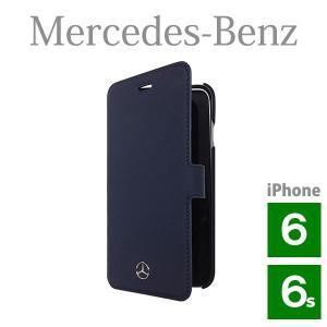 メルセデス・ベンツ 本革 ブックタイプケース ネイビー (iPhone 6/6S用) Pure Line Genuine leather Booktype case Navy(送料無料)|motormagazine