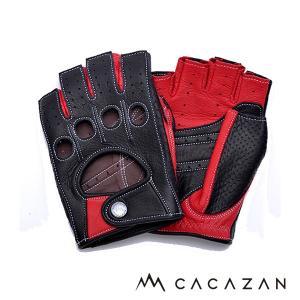カカザン(CACAZAN)ドライビンググローブ DDR-071R ブラック × レッド(メンズ グローブ ブランド 革 車用 半指)(送料無料)|motormagazine