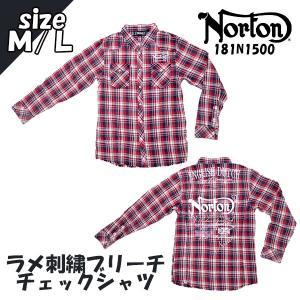 ノートン ラメ刺繍ブリーチチェックシャツ レッド (Norton 181N1500 35)(送料無料/あすつく対応)|motormagazine
