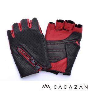ドライビンググローブ カカザン(CACAZAN)DDR-051ブラック甲×レッド掌(メンズ グローブ ブランド 革 車用 半指)(送料無料)|motormagazine
