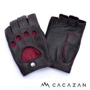ドライビンググローブ カカザン(CACAZAN)DDR-070 ブラック ×レッドステッチ(メンズ グローブ ブランド 革 車用)(送料無料)|motormagazine