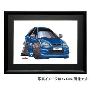 イラスト シビック(EK・青)|motorparade