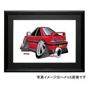 イラスト プジョー405(赤・後ろ)|motorparade