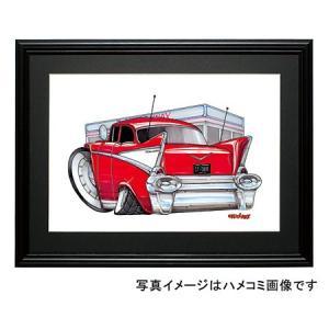 イラスト シボレー・ベルエア(赤/白)|motorparade