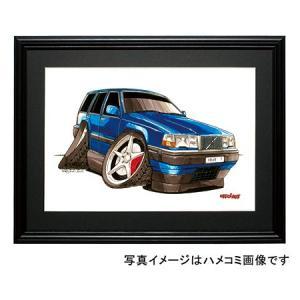 イラスト ボルボ700シリーズ(青)|motorparade