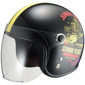 RIDEZ Jr SPARK PLUGS ジェットヘルメット ブラック/アイボリー キッズサイズ(53-54cm)|motostyle