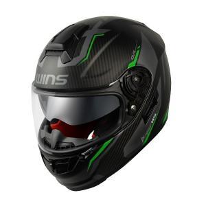 WINS(ウインズ) A-FORCE RS FLASH カーボン×ネオングリーン フルフェイスヘルメ...