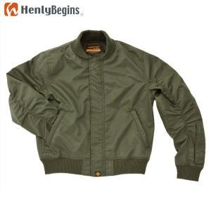 Henly Begins(ヘンリービギンズ) ナイロンツイル MA-1 ジャケット(カーキ) DH-006 motostyle