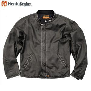 Henly Begins(ヘンリービギンズ) フェイクレザー ライダースジャケット(ブラック) HBJ-048 motostyle