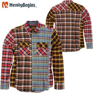 HenlyBegins プロテクター対応 ネルシャツ MIX NHB-1504|motostyle