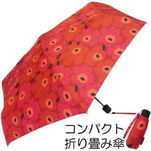 マリメッコ marimekko 折りたたみ傘 UNIKKO(ウニッコ)/DARKRED|mottozutto