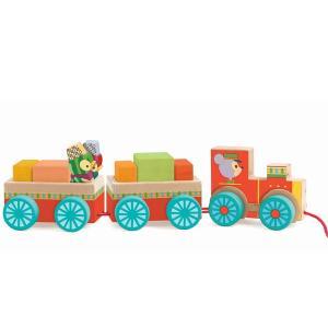 ジェコ 木のおもちゃ プルトイ  ジュンゾートレイン(18カ月から)【店頭受取も可 吹田】|mottozutto