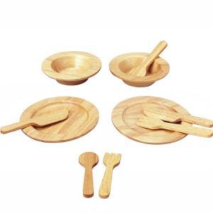 プラントイ 木製ままごと 食器セット(3歳から)|mottozutto