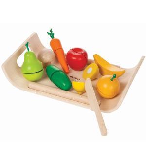 プラントイ 木製ままごと 詰め合わせフルーツ&ベジタブルセット(3歳から)|mottozutto