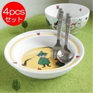 ムーミン 陶器の子供用食器セット(プレート お茶碗&カトラリー)【店頭受取も可 吹田】|mottozutto