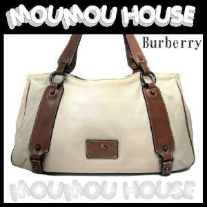 Burberry■バーバリーブルーレーベル■キャンバス×ブラウンレザー■ショルダーバッグ■ベージュ♪【A-D】中古|moumouhousestore