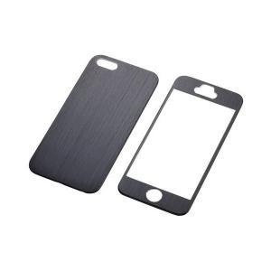ELECOM iPhone SE/5/5S アルミパネル ブラック 液晶・背面保護フィルム付き PS...