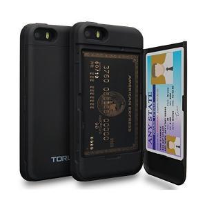 iPhone SE ケース, TORU [カード収納 黒] 二重構造 ICカード 耐衝撃 アイフォンSE プラス手帳 ミラー付き カバ― Apple|mount-n-online