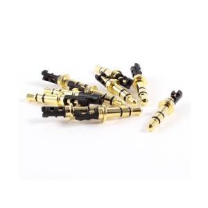 SODIAL(R)10 Pcs 3.5mm 3ポールオスはんだ修理ヘッドホンオーディオジャックプラグゴールドトーン|mount-n-online