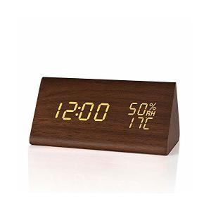目覚まし時計 FIBISONIC 木製 おしゃれ 置き時計木目調 デジタル 置き時計 LED 大音量 アラーム 多機能 温度湿度計 カレンダー付き|mount-n-online