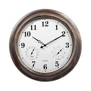 Moonya 掛け時計 防水 温湿度計 静音 屋外用 直径45.7cm 見やすい 庭用 防塵 壁掛け時計 アンティーク 室内 18inch (ブラウ|mount-n-online