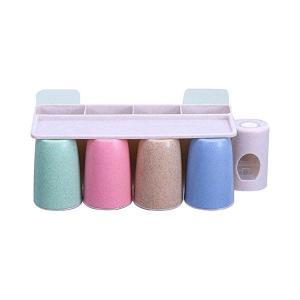 歯ブラシスタンド 4 個 歯ブラシコップ 8本の歯ブラシを保管することができます 4つの収納スロットがあり強力な吸盤 歯ブラシ立て 歯ブラシホルダー|mount-n-online