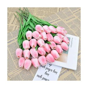 ジャション お祝いの結婚式のパーティーの花 高品質のチューリップ造花 手作りブーケ フラワーアレンジ 花束 10パック (Pink)|mount-n-online