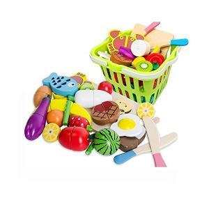 WONZOM おままごと 木製 22点セットおままごと 食べ物 切る遊び 磁石式 食材 果物 木のお...