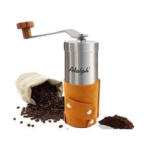 手挽きコーヒーミル 手動コーヒーミル セラミックカッター ミニコーヒーミル ステンレス 粒度調節可能 解体可能 洗いやすい コンパクト ブラウン|mount-n-online