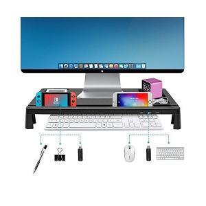 モニター台 机上台 パソコンスタンド キーボードトレイ USBポート付き 収納力抜群 ブラック