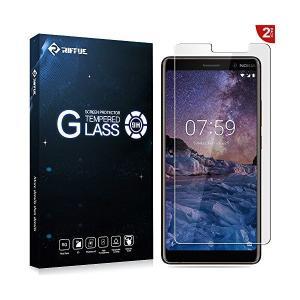 Riffue  Nokia 7 Plusフィルム Nokia 7 Plus ガラスフィルム 強化 気...