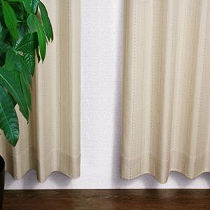 [窓美人] ストライプ柄カーテン 「ステップLight」 カーテン 2枚  アジャスターフック  カーテンタッセル ベージ|mount-n-online