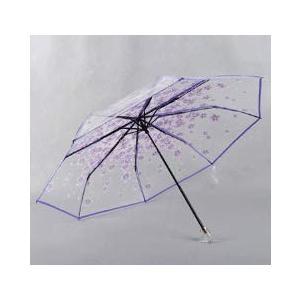 Raineed 学生桜の花透明3段式折りたたみ傘 8本骨/55cm 高強度ガラス繊維傘骨 耐風 手動開閉 おしゃれ 多色オプショ|mount-n-online