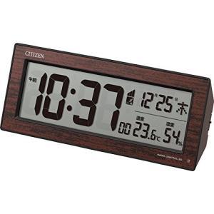 シチズン 目覚まし時計 電波 デジタル R195 暗所 ライト 自動 点灯 温度 湿度 曜日 カレンダー 表示 茶 (木目仕上|mount-n-online