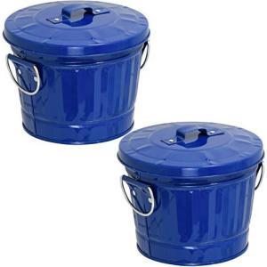 マルカ 灰皿 卓上 ダストバケツ灰皿 [ 2コセット / 直径140高さ115mm / ブルー ] 日本製|mount-n-online