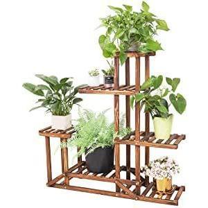 木製 フラワースタンド 5段 花台 ガーデニング 棚 フラワーラック 園芸 鉢置きスタンド 鉢植え 盆栽棚 軽量/頑|mount-n-online