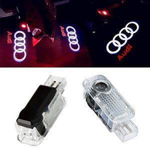NMXPW 2個セットドア高輝度のLEDチップ アウディ Audi ロゴ カーテシランプ カーテシライト ゴーストシャドーライ|mount-n-online