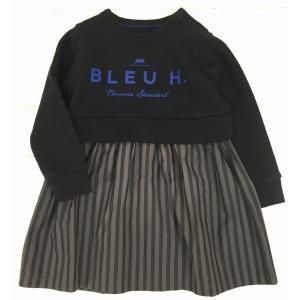 【SALE♪】ストライプ切替ワンピース [130cm] '15秋冬 Bleu Horizon(ブルーオリゾン)子供服/ワンピース|moutonkids