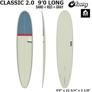 サーフボード torq トルク CLASSIC 2.0  9'0 LONG  SAND + RED + GRAY フィン付き|move
